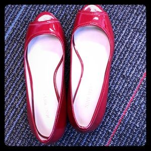 Red patent leather Nine West peep toe flats